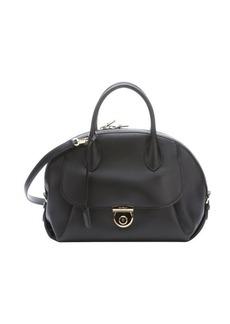 Salvatore Ferragamo black leather 'Vivette' dome satchel