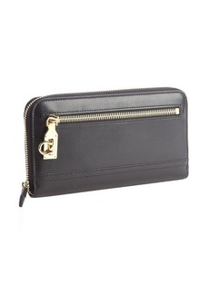 Salvatore Ferragamo black leather ziparound continental wallet