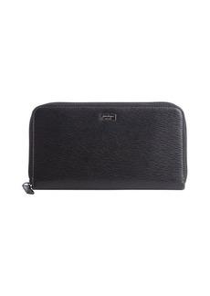 Salvatore Ferragamo black leather ziparound continental wallet