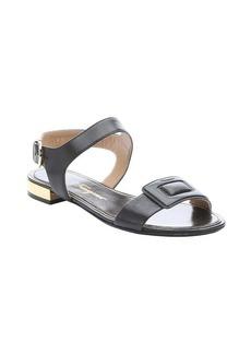 Salvatore Ferragamo black lizard print calfskin 'My Holiday' sandals