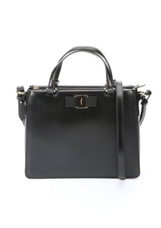 Salvatore Ferragamo black patent leather convertible mini satchel