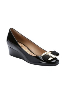 Salvatore Ferragamo black patent leather 'Ninna 40' bow detail wedges