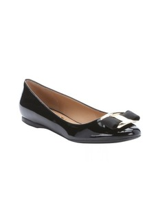 Salvatore Ferragamo black patent leather 'Ninna' bow detail ballerina flats