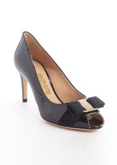 Salvatore Ferragamo black patent leather 'Pola' peep toe pumps