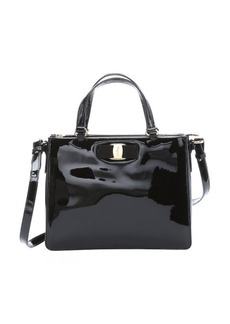 Salvatore Ferragamo black patent leather 'Tracy' convertible satchel