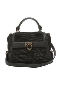Salvatore Ferragamo black pony hair and leather 'Sofia' convertible mini satchel