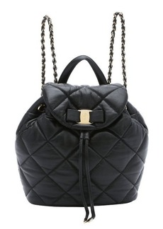 Salvatore Ferragamo black quilted leather 'Giuliette' backpack