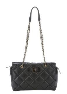 Salvatore Ferragamo black quilted leather medium 'Ginette' chain shoulder bag
