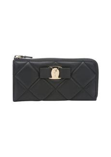Salvatore Ferragamo black quilted leather 'Vara' bow detail zip pouch