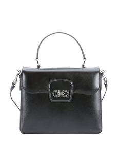 Salvatore Ferragamo black red leather convertible 'Top Handle' bag
