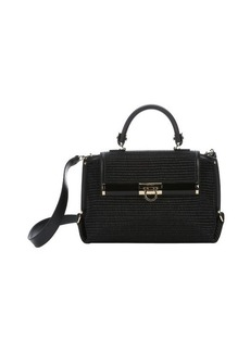 Salvatore Ferragamo black textured straw medium 'Sofia' convertible top handle bag
