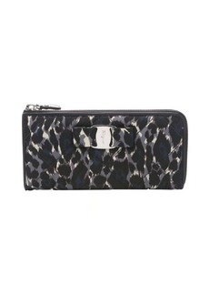 Salvatore Ferragamo blue and black leopard print quilted nylon continental zip wallet