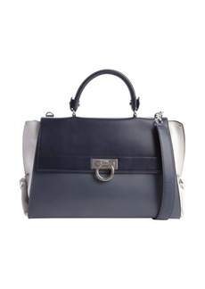 Salvatore Ferragamo blue and gray tri-color leather medium 'Sofia' bag