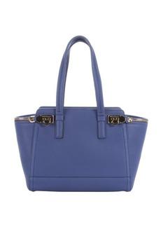 Salvatore Ferragamo blue china leather 'Verve' zip detail tote bag