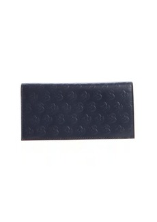 Salvatore Ferragamo blue ink elephant embossed leather travel wallet
