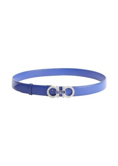Salvatore Ferragamo blue leather crystal detail gancio buckle belt