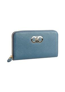 Salvatore Ferragamo blue leather gancini zip wallet