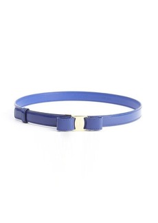 Salvatore Ferragamo blue patent leather bow detail 'Miss Vara' skinny belt