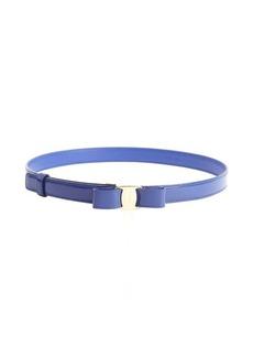 Salvatore Ferragamo blue patent leather bow detail 'Miss Vara' skinny belt