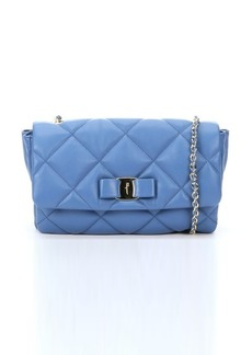 Salvatore Ferragamo blue quilted leather 'Gelly' chain shoulder bag