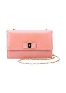 Salvatore Ferragamo blush crosshatched leather shoulder bag