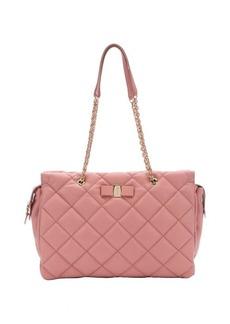 Salvatore Ferragamo blush quilted leather large 'Ginnette' shoulder bag