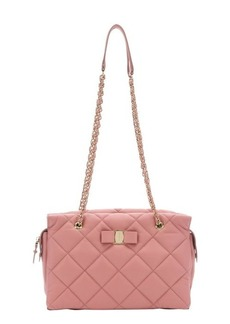 Salvatore Ferragamo blush quilted leather small 'Ginnette' shoulder bag