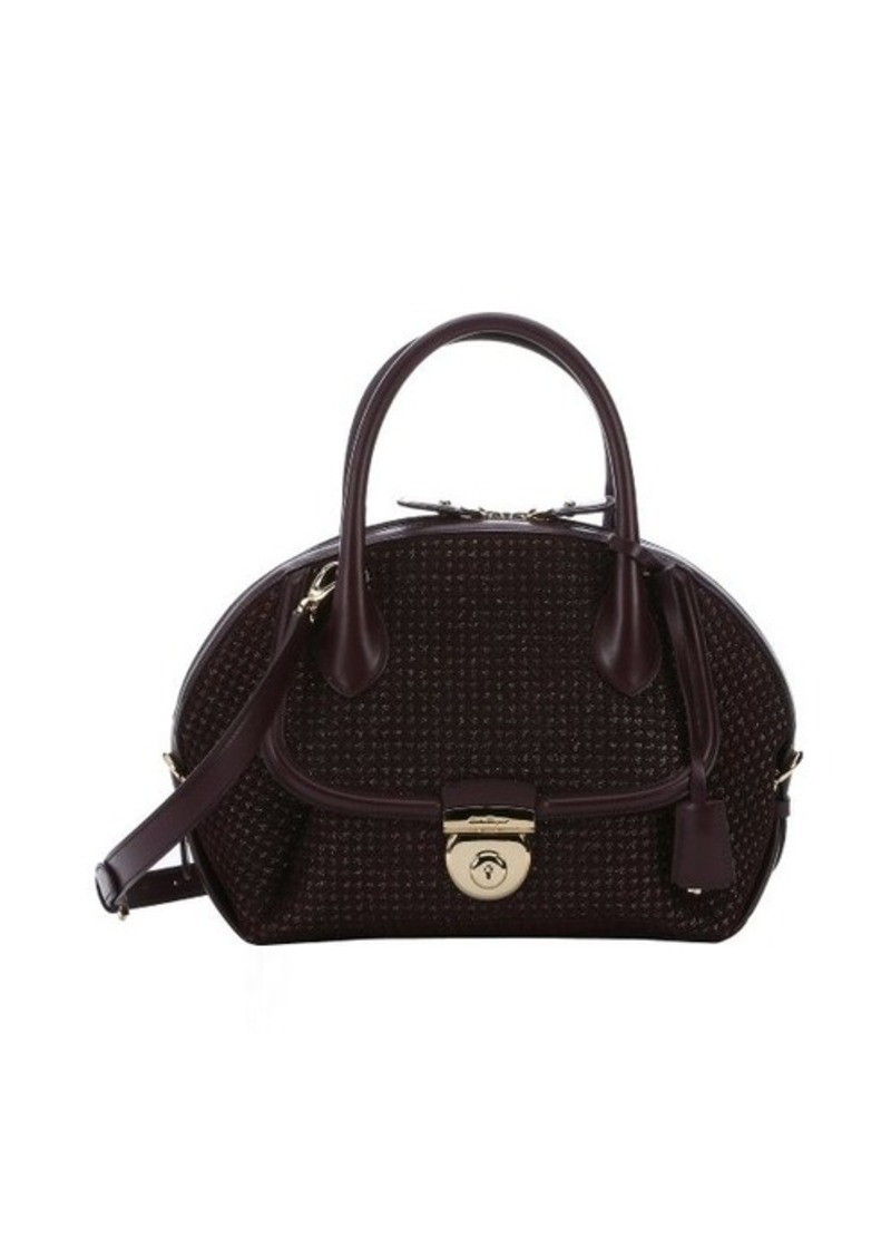 ferragamo salvatore ferragamo bordeaux laser cut calfskin large 39 fiamma 39 convertible tote sizes. Black Bedroom Furniture Sets. Home Design Ideas