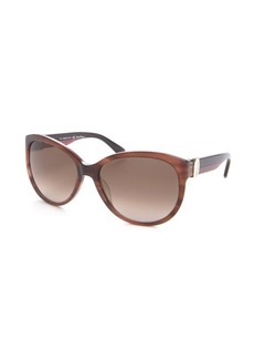 Salvatore Ferragamo brown acrylic cat eye sunglasses
