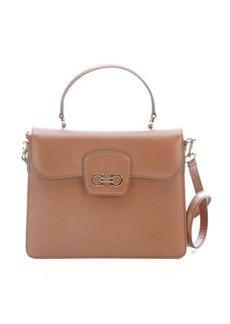 Salvatore Ferragamo brown crosshatched leather gancini detail convertible bag