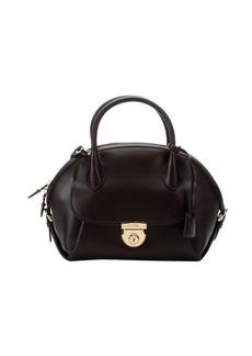 Salvatore Ferragamo brown leather 'Fiamma' top handle convertible bowler bag
