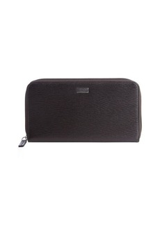Salvatore Ferragamo brown leather ziparound continental wallet