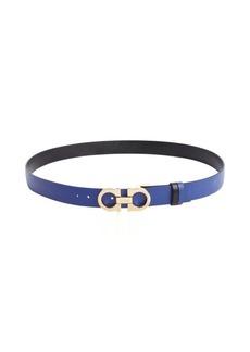 Salvatore Ferragamo cobalt textured leather gancio buckle skinny belt
