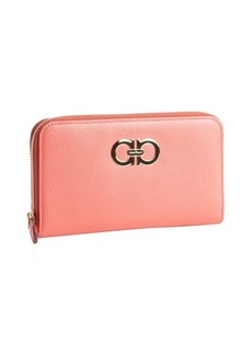 Salvatore Ferragamo coral rose leather gancini zip wallet