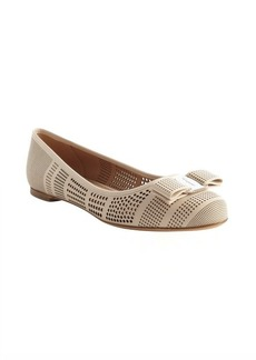 Salvatore Ferragamo creme silk perforated leather bow detail flats