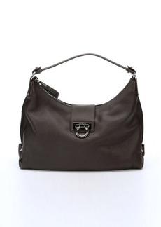 Salvatore Ferragamo dark brown calfskin gancio clasp shoulder bag