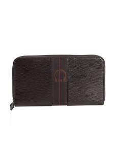 Salvatore Ferragamo dark chocolate textured leather ziparound oversized travel wallet