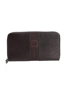 Salvatore Ferragamo dark chocolate textured leather ziparound oversized travel wallet