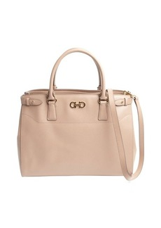 Salvatore Ferragamo deep beige leather double gancio large tote