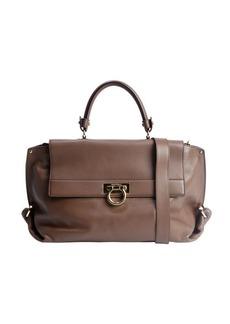 Salvatore Ferragamo deep taupe leather 'Sofia' convertible satchel