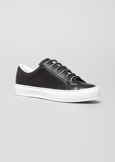 Salvatore Ferragamo Flat Perforated Lace Up Sneakers - Melina
