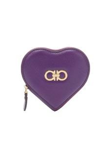 Salvatore Ferragamo grape calfskin leather heart-shaped expanding coin purse