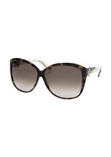 Salvatore Ferragamo green tortoise acrylic rectangle sunglasses