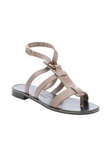 Salvatore Ferragamo grey leather 'Fiamma S' t-strap sandals