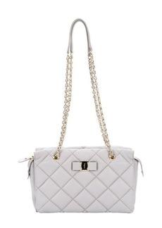 Salvatore Ferragamo grey quilted leather 'Ginette' shoulder bag