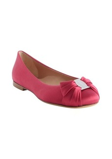 Salvatore Ferragamo hot pink satin engraved logo bow tie ballet flats