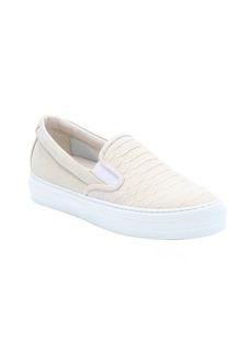 Salvatore Ferragamo ivory crocodile print leather 'Pacau' slip-on sneakers