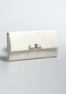 Salvatore Ferragamo ivory saffiano leather bow continental wallet