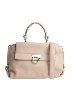 Salvatore Ferragamo khaki leather convertible top handle handbag