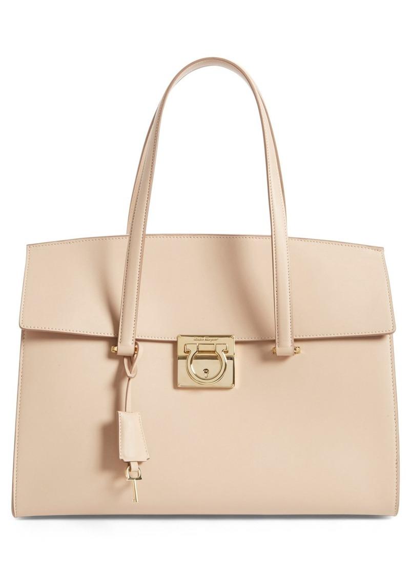 ferragamo salvatore ferragamo 39 large mara 39 leather satchel handbags shop it to me. Black Bedroom Furniture Sets. Home Design Ideas